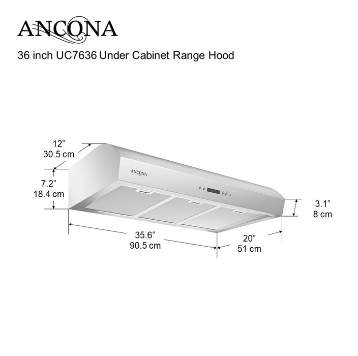 UC7636 Under Cabinet Range Hood with Night Light 700 CFM 36 in.