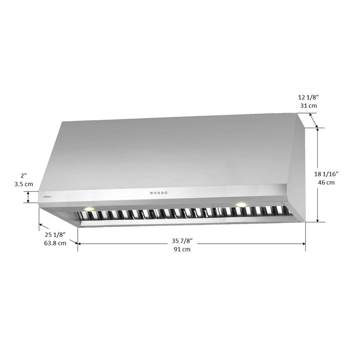 Pro UC LED 36 in. Under-Cabinet Range Hood in Stainless Steel