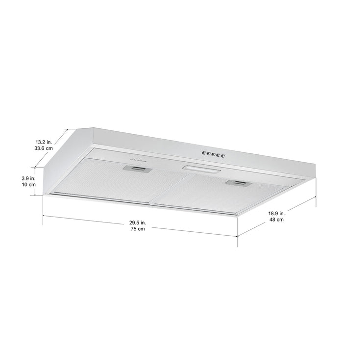 30 in. Convertible Under Cabinet Range Hood in Stainless Steel
