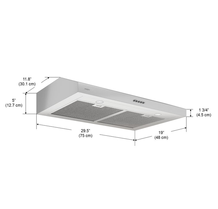 Ancona Slim SDR 30 in. 325 CFM Non-vented Stainless Steel Under Cabinet Range Hood