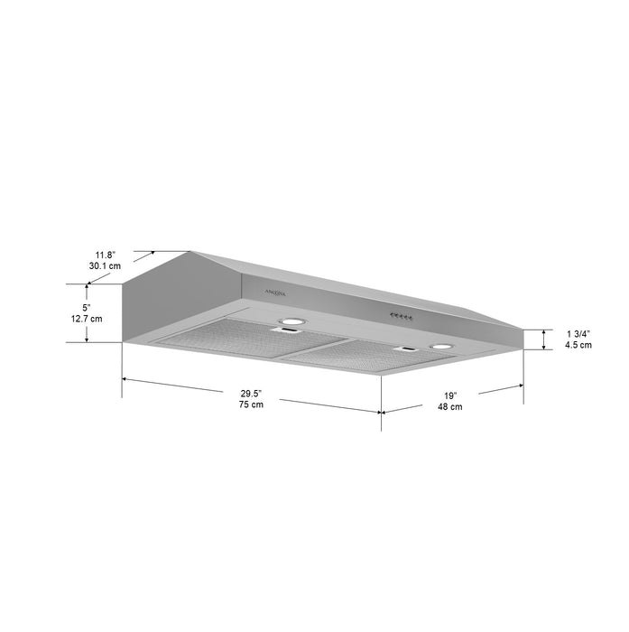 Slim S3D 30 in. 325 CFM Non-vented Stainless Steel Under Cabinet Range Hood