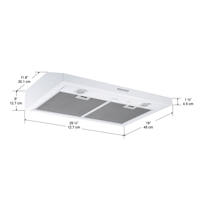 Slim S3DW 30 in. 325 CFM Non-vented White Under Cabinet Range Hood