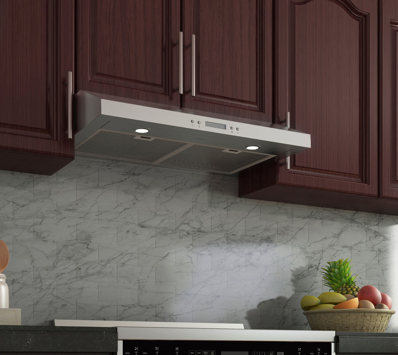 Ancona 30 in. Slim SHD30 Under Cabinet Range Hood in Stainless Steel