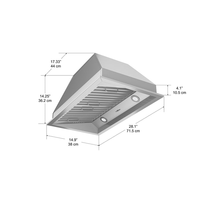 28 in. Ancona Chef Series Range Hood with LED Lights 600 CFM