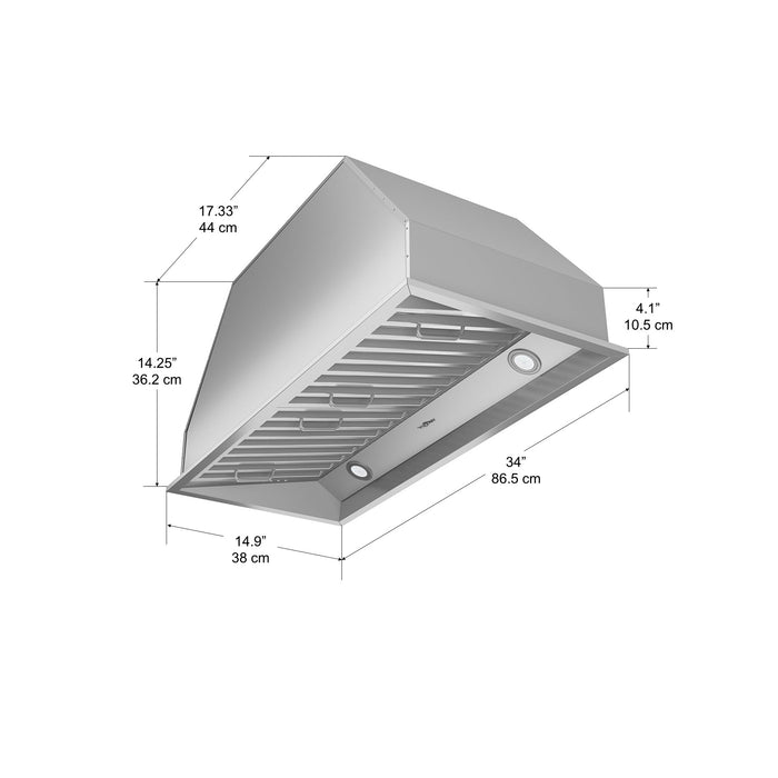 34 in. Chef Built in 600 CFM Ducted Insert Range Hood