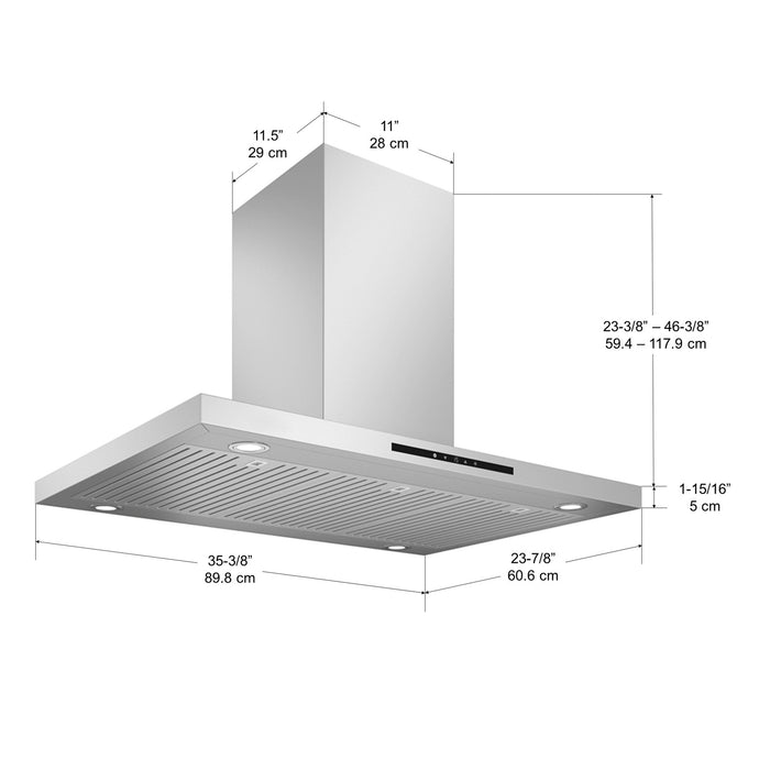 IRE636 Elite Convertible Island Mount Range Hood in Stainless Steel with LED lights