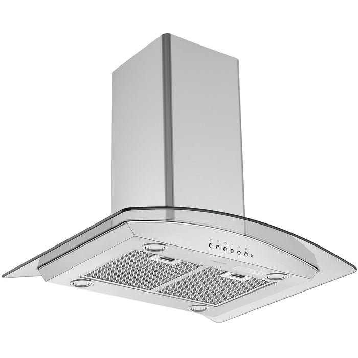 30-inch Convertible Island Glass Canopy Range Hood in Stainless Steel with Auto Night Light