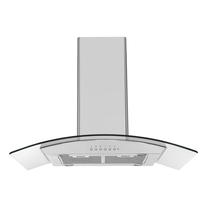 36-inch Convertible Island Glass Canopy Stainless steel