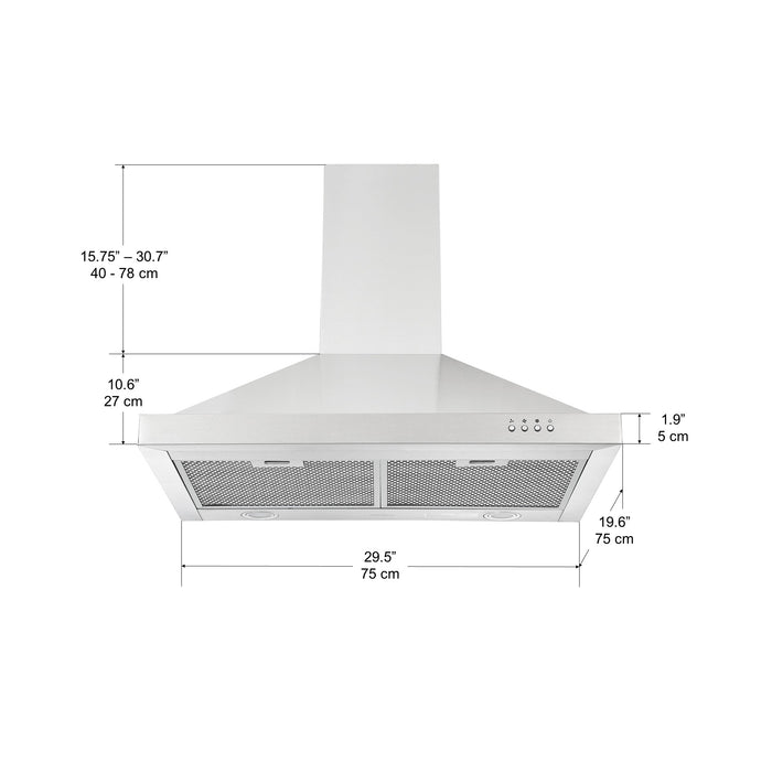 Ancona WPS630 30 in. Wall Mount Pyramid Range Hood in Stainless Steel