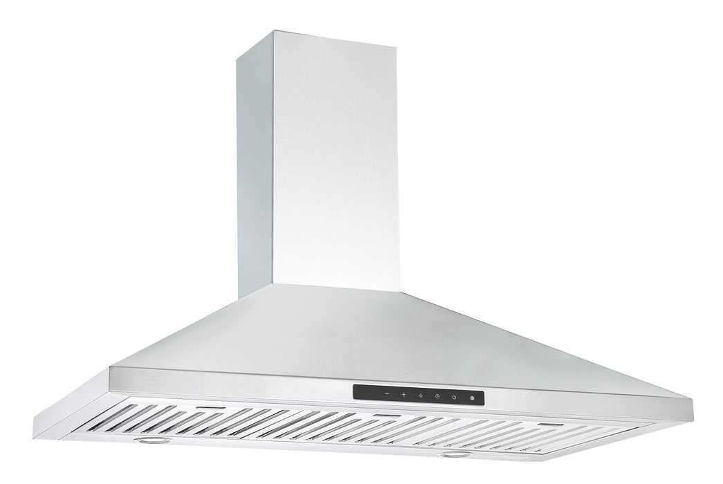 Ancona WPNL636 36 in. Wall Mount Pyramid Range Hood in Stainless Steel with Night Light Feature