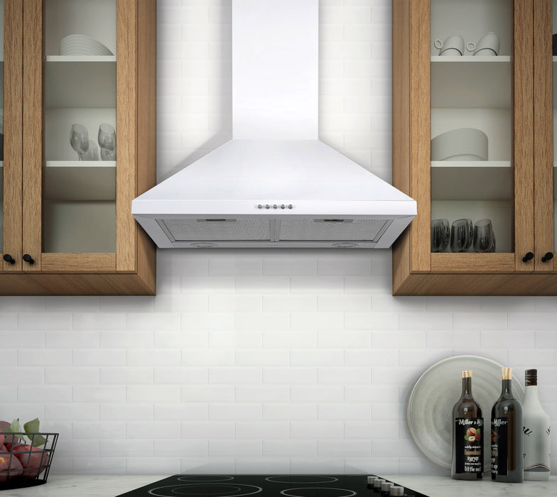 24 in. Convertible Wall Pyramid Range Hood in White Stainless Steel