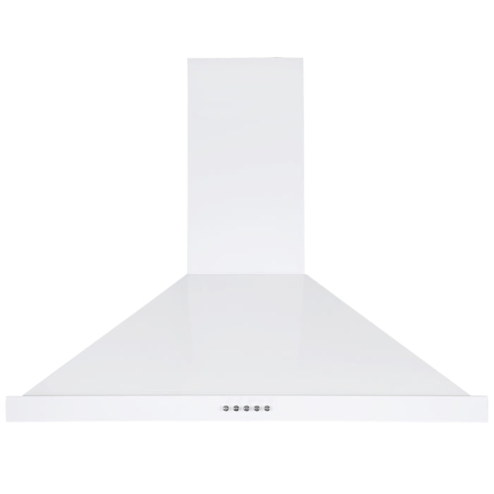 30 in. Convertible Wall-Mounted Pyramid Range Hood in White Stainless Steel