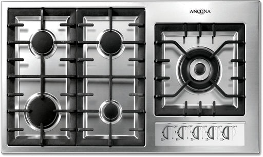 Ancona Elite 36-Inch 5-Burner Gas Cooktop with Wok Pan Support