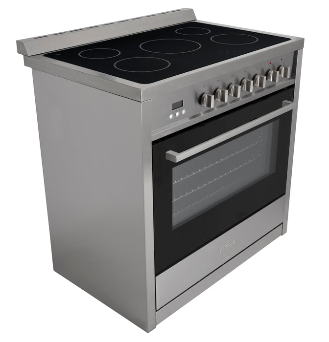 Gourmet 36 in. Vitroceramic with Convection Oven Freestanding Range