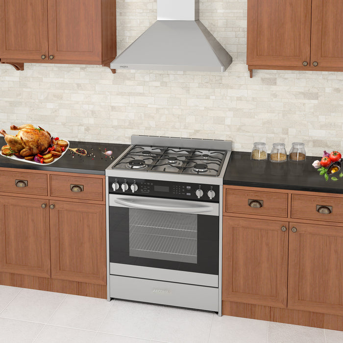 Ancona 30 in. Freestanding Dual Fuel Convection Range