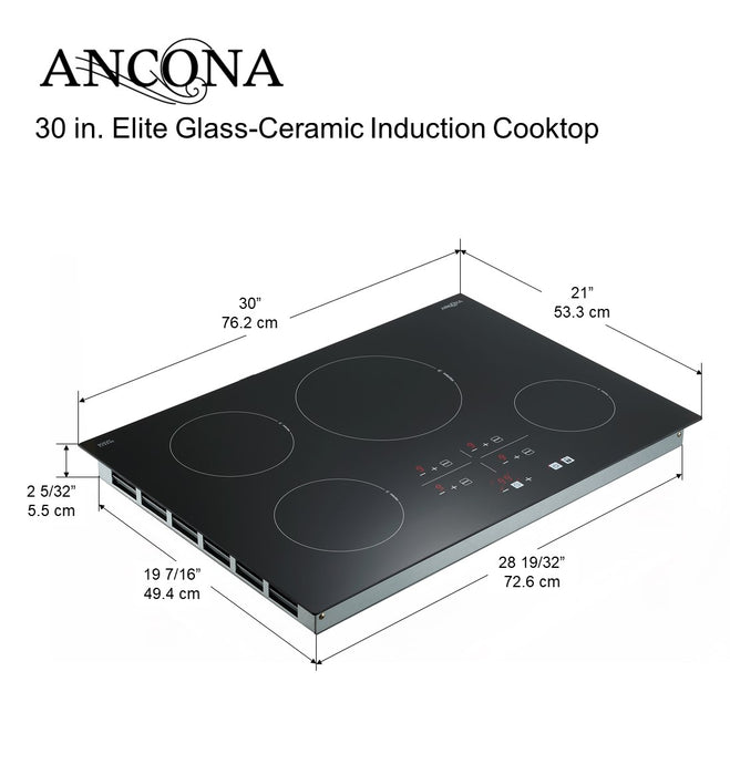 Ancona Elite 30 in. Glass-Ceramic Induction Cooktop in Black with 4 Elements Featuring Individual Boost Function