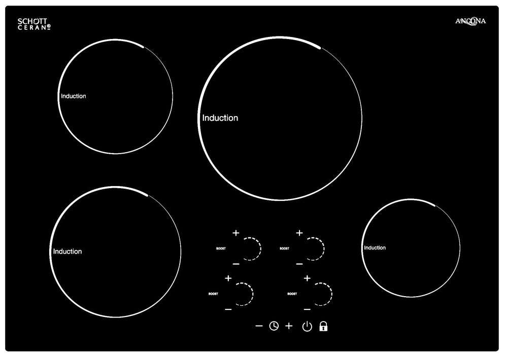 Radiant 30 in. Induction Cooktop with 4 Burners with individual Boost function
