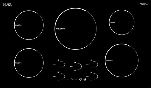 Ancona Radiant 36 in. Induction Cooktop with 5 Burners with individual Boost function