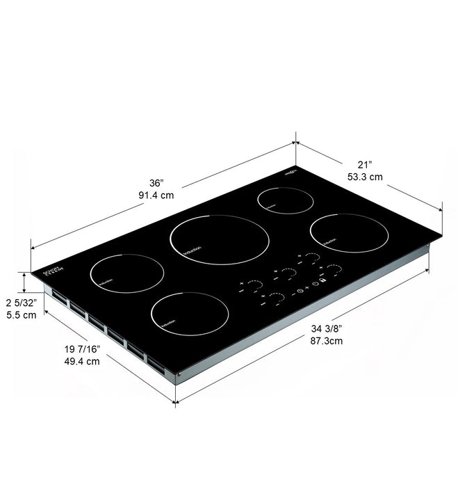 Radiant 36 in. Induction Cooktop with 5 Burners with individual Boost function