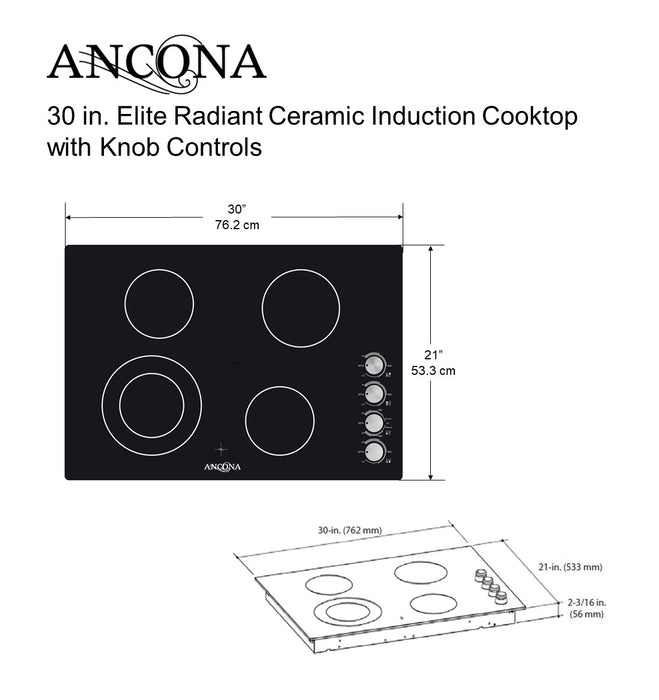 Elite 30 in. 4-Burner Radiant Ceramic Cooktop with Knob Controls