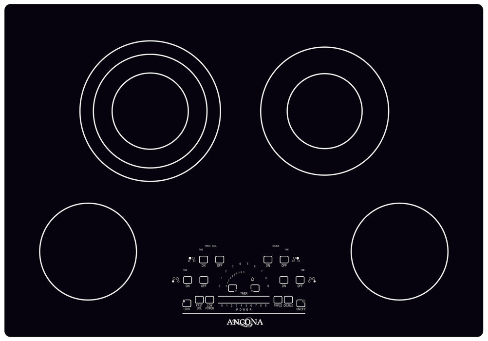 Ancona Elite 30-Inch 4-Burner Touch Control Radiant Ceramic Cooktop