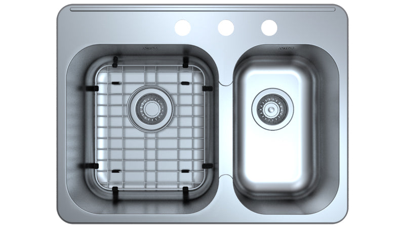 Capri Series Drop-in Stainless Steel 27 in. 3-Hole 60/40 Double Bowl Kitchen Sink with Grid and Strainers