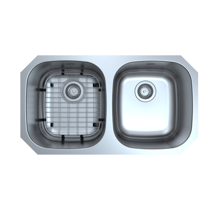 Capri Series Undermount Stainless Steel 32 in. 50/50 Double Bowl Kitchen Sink in Satin Finish with Grid and Strainers