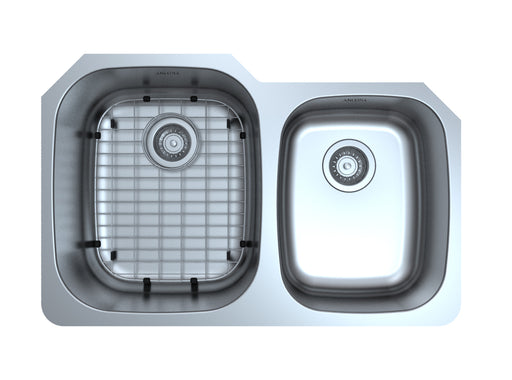 Capri Series Undermount Stainless Steel 32 in. 60/40 Double Bowl Kitchen Sink in Satin Finish with Grid and Strainers