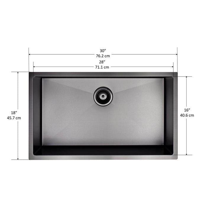 Prestige Series Undermount Stainless Steel 30 in. Single Bowl Kitchen Sink with Grid and Strainer in Gunmetal PVD Nano