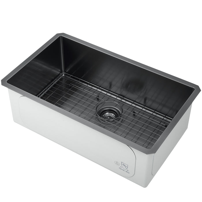 Prestige Series Undermount Stainless Steel 30 in. Single Bowl Kitchen Sink with Grid and Strainer in Black PVD Nano
