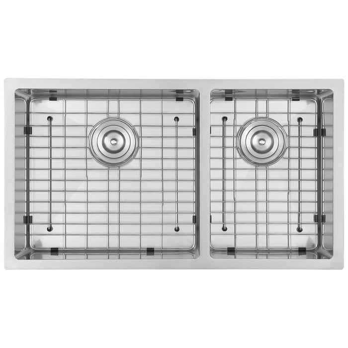 Prestige Series Undermount Stainless Steel 32 in. 60/40 Double Bowl Kitchen Sink with Grid and Strainer in Stainless Steel
