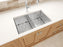 Prestige Series Undermount Stainless Steel 28 in. 50/50 Double Bowl Kitchen Sink in Satin Finish with Grids and Strainers