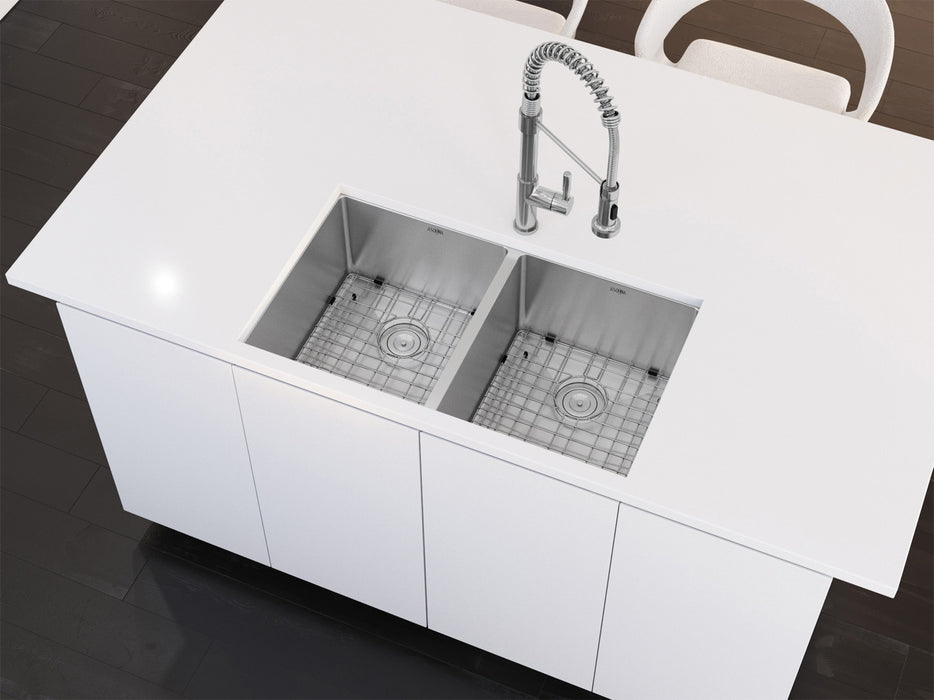 Prestige Series Undermount Stainless Steel 32 in. 50/50 Double Bowl Kitchen Sink in Satin Finish with Grids and Strainers