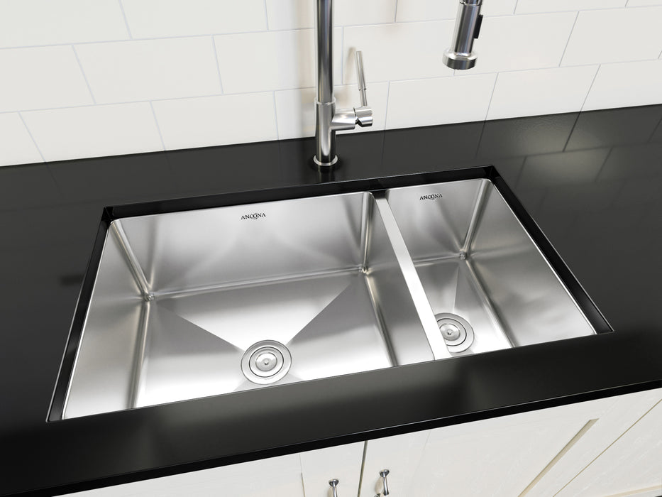 Prestige Series Undermount Stainless Steel 32 in. 70/30 Double Bowl Kitchen Sink in Satin Finish with Grids and Strainers