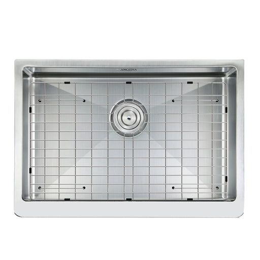Prestige Series Undermount Farmhouse Apron Front Stainless Steel 30 in. Single Bowl Handmade Sink with Grid and Strainer