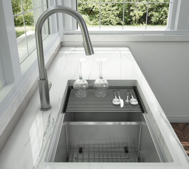 Prestige Series Under Mount 60/40 Double Bowl Sink with Ledge and Low Divide