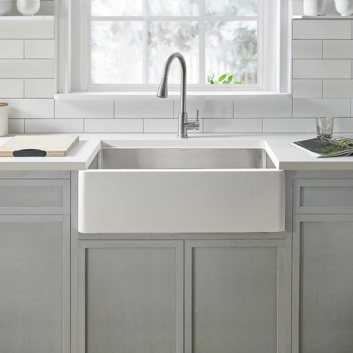 Holbrook Pure Stone Farmhouse 30 in. Single Bowl Kitchen Sink in White and Stainless Steel