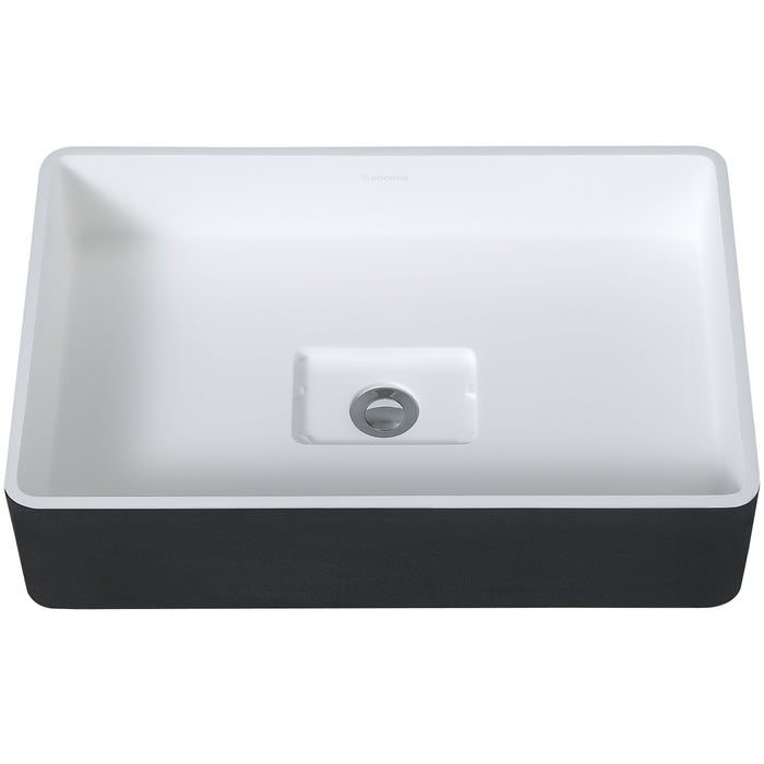 HolBrook Pure Stone Rectangular Bathroom Vessel Sink in Black and White
