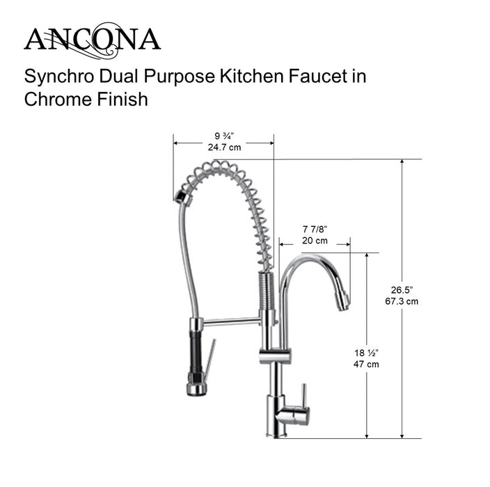 Synchro Dual Purpose Kitchen Faucet, Chrome Finish