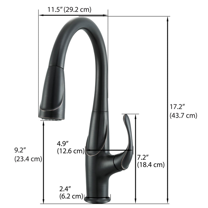Eliya Single Handle Pull-out Kitchen Faucet in Oil Rubbed Bronze finish