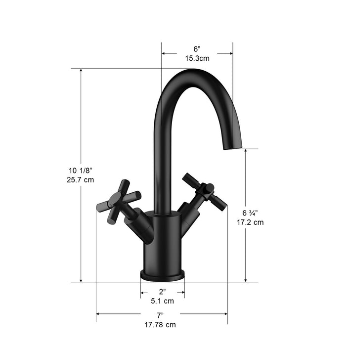 Ancona Prima Colori Single Hole Double Cross Handle Bathroom Faucet in Matte Black