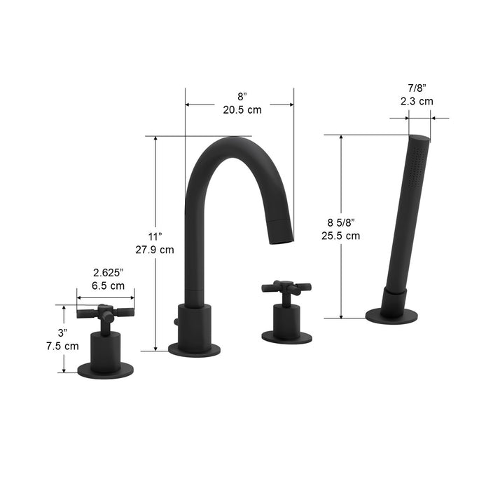 Prima 4 Colori Series Matte Black Bathroom Tub Faucet