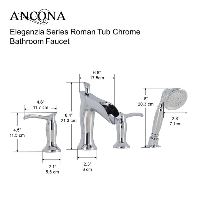 Eleganzia Series Roman Tub Chrome Bathroom Faucet