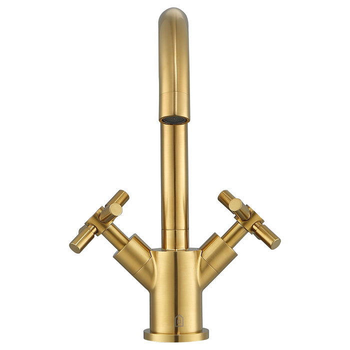 Prima Colori Single Hole Double Cross Handle Bathroom Faucet in Brushed Gold