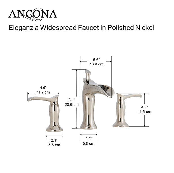 Eleganzia Series Widespread Polished Nickel Bathroom Faucet