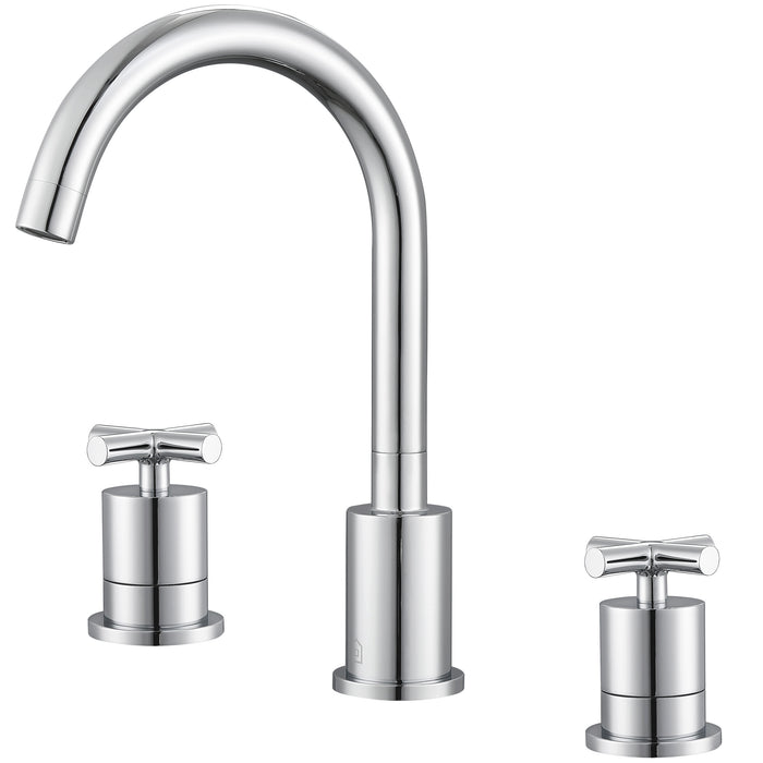 Ava Series Widespread Cross Handle Bathroom Faucet in Chrome finish