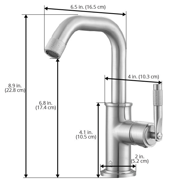 Ancona Industria Series Single Lever Bathroom Faucet in Brushed Nickel