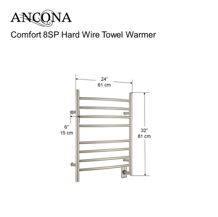 Comfort 8SP - 8-Bar Hardwired and Plug-in Towel Warmer in Polished Stainless Steel