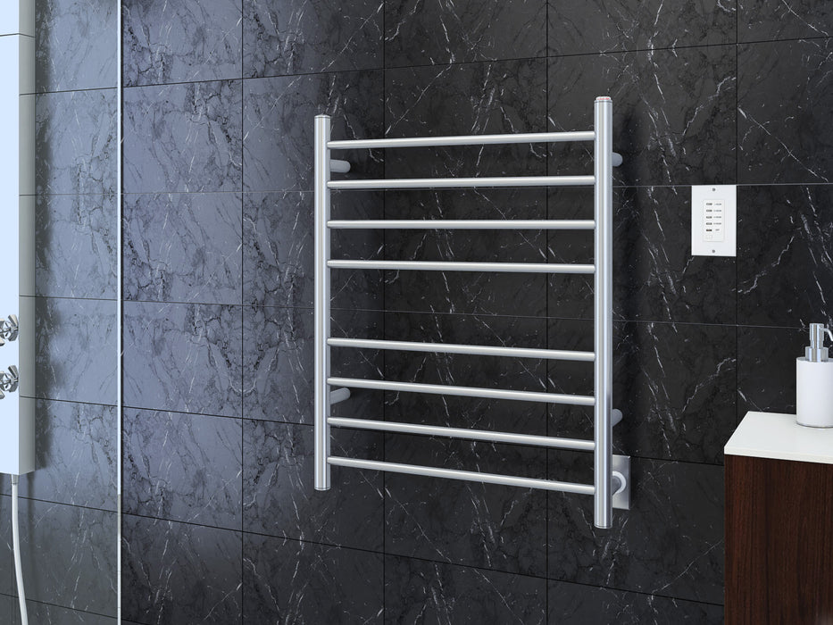 Prestige Dual 8-Bar Hardwired and Plug-in Towel Warmer in Polished Stainless Steel with Wall Countdown Timer