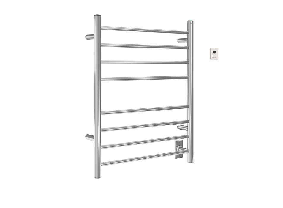 Ancona Prestige Dual 8-Bar Hardwired and Plug-in Towel Warmer in Polished Stainless Steel with Timer